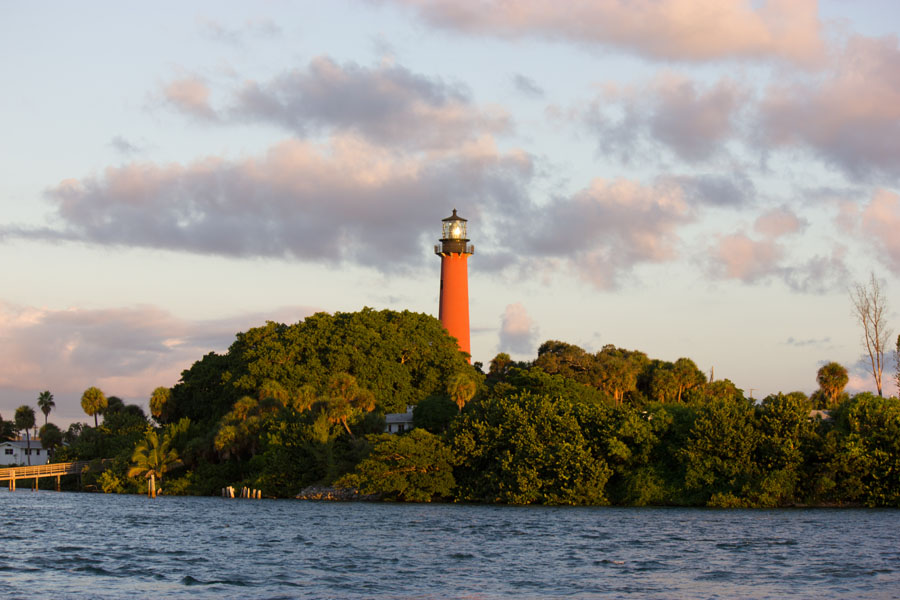Dawn Breaking Over the Jupiter Lighthouse Aboard Reel Candy